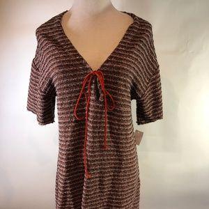 Zara Brown Pink Tweed Dress M New